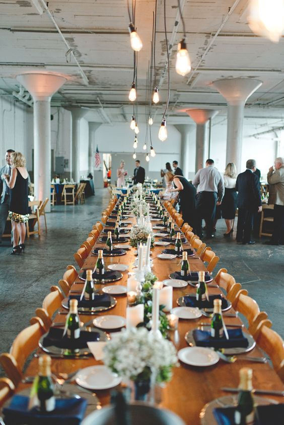 Pewter, blue and a tad of copper details elevate the vibe of this industrial warehouse winter wedding. Mallory + Justin Photographers.