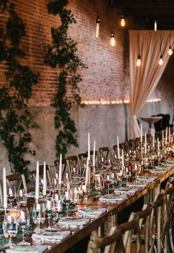 Warm and inviting industrial winter wedding decor in Chicago.