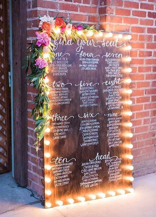 ¿Quieres impresionar a tus invitados? Pon luces y flores alrededor de tu lista de asignación de mesas. Foto: Colin Cowie Weddings.