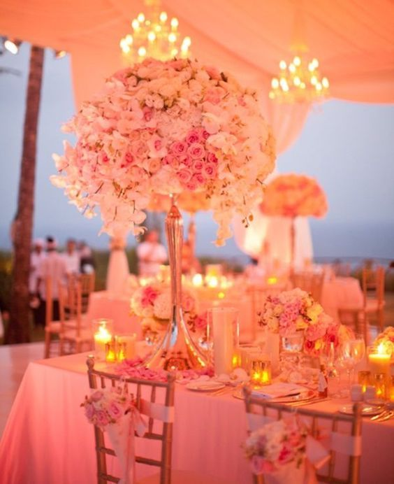 Glam, romantic and full of life. TD living coral and gold beach wedding decor ideas.