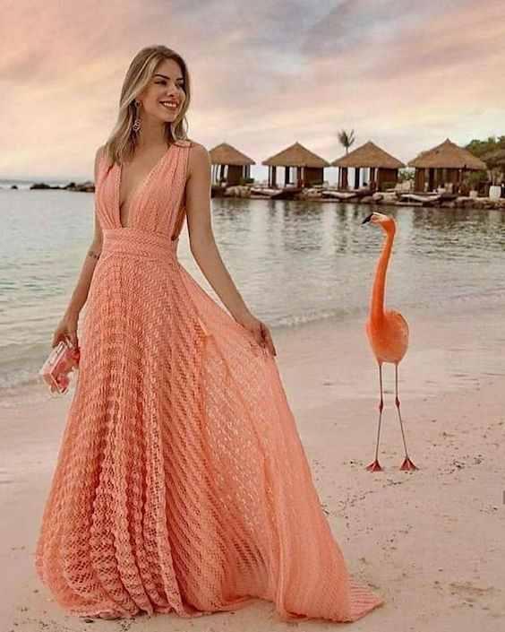 Bridesmaid dress for destination or beach weddings. Flamingo not included. ;)