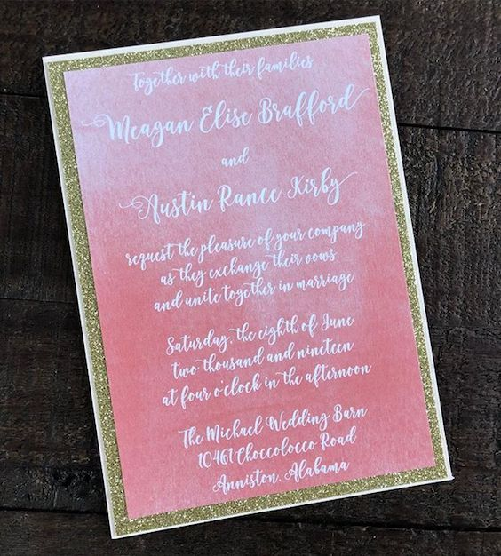 Informal and fun peachy-pink Living Coral wedding invitations with gold border.