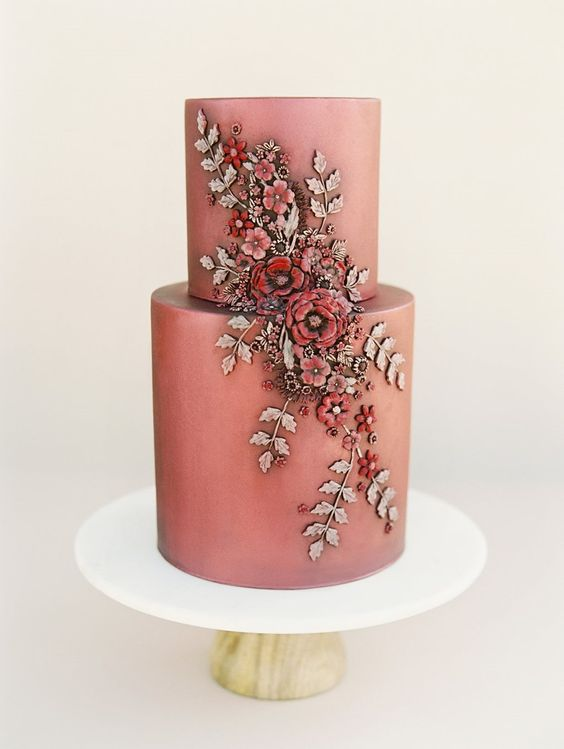Modern vintage fall wedding cake design ideas. Perfection in living coral. Ultra smooth edges, edible art in the form of roses and leaves.