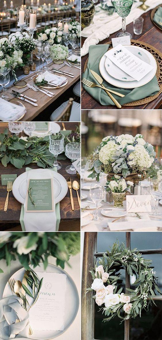Steal-worthy trending sage green winter wedding decor ideas.