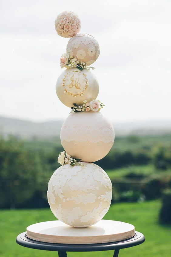 Unique wedding cake designs are trending for the upcoming wedding season. Dare to go all out with an unparalleled masterpiece like this one by mcgowan wedding cakes. Five-tier sphere cake with monogram, sugar flowers and vintage lace.