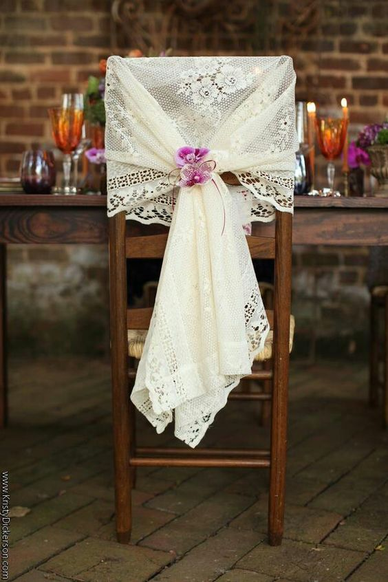 Simple to DIY, this unique vintage chair covers can be used for the sweetheart's table. Photography: Kristy Dickerson.