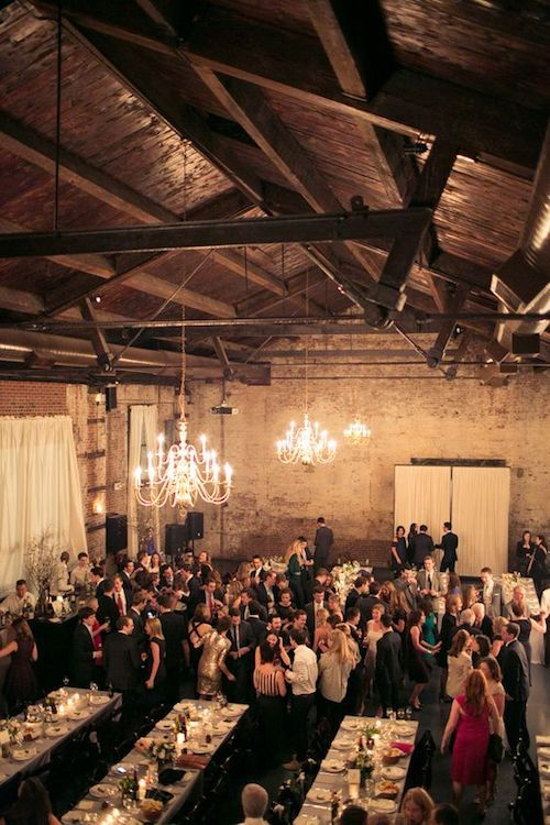 Vintage industrial wedding at The Green Building in Brooklyn, New York.