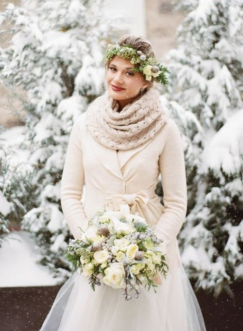 Look cozy amidst the wintry paradise. Layer up! Elizabeth Anne designs.