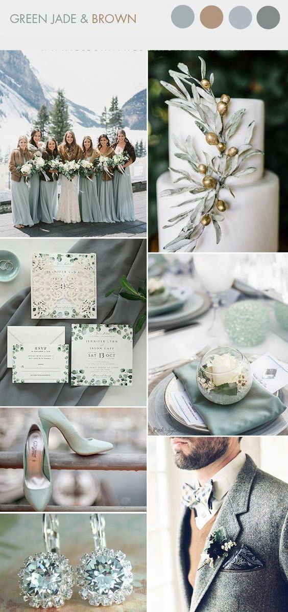 Winter wedding color ideas: green jade and brown.