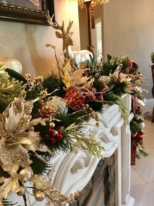 Winter wedding ideas: decorate your mantelpiece with a forest-inspired garland poinsettia.