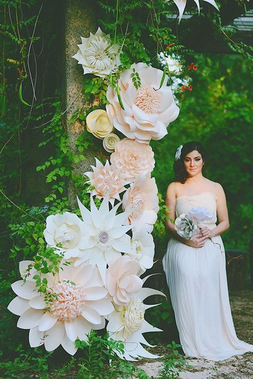 Un background para el fotocall o de fotografía soñado para una boda en bosque encantado. Flores gigantes.