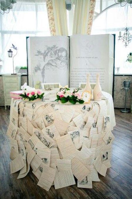 Una decoración de boda de cuento. Con páginas de Alicia en el País de las Maravillas y el libro de backdrop. Extremadamente original.