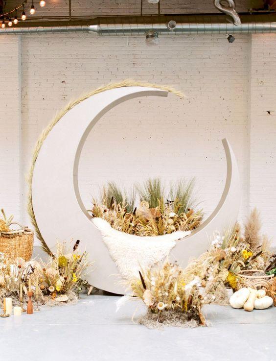 Un fondo ultra original con una luna sobre la cosecha representado abundancia y un dejo rústicamente romántico.