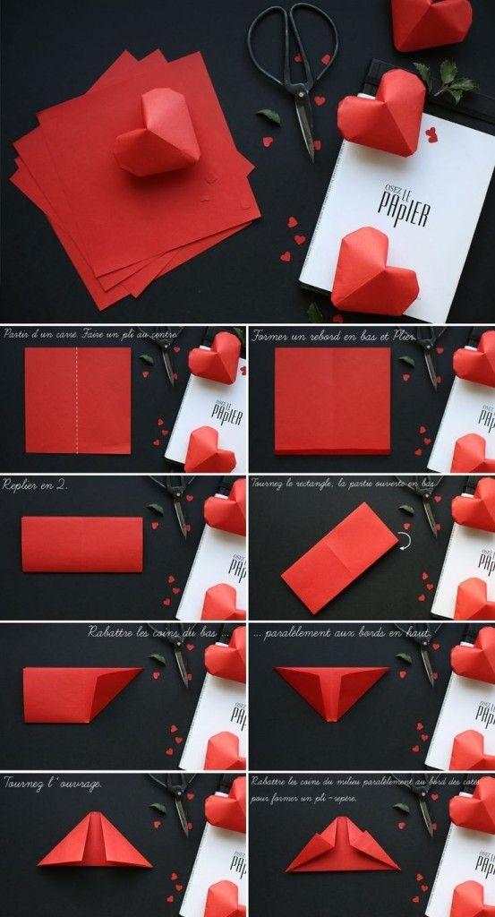 Tutorial de corazones de origami.