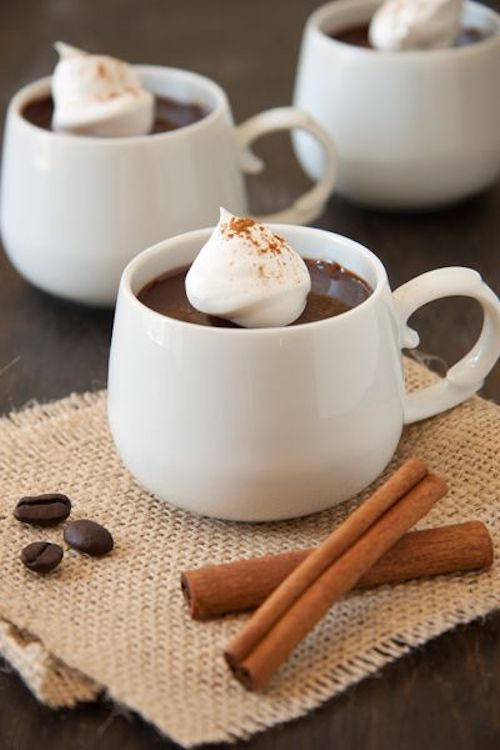 Winter reception dessert bar idea. Mexican hot chocolate with a dollop of cream and a stick of cinnamon to stir it up.
