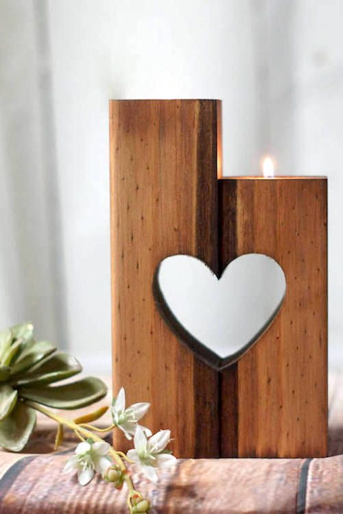 Shabby chic heart shaped reclaimed wood candle holder for him.