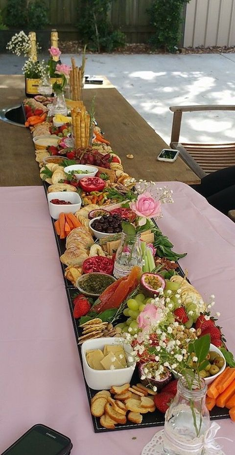 Simple but bountiful antipasto centerpiece for a backyard wedding.
