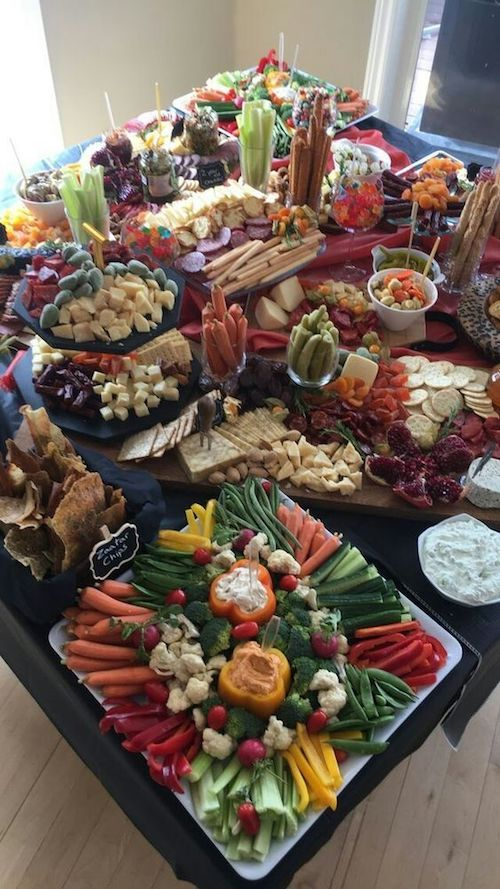 A veggie and antipasto grazing table.