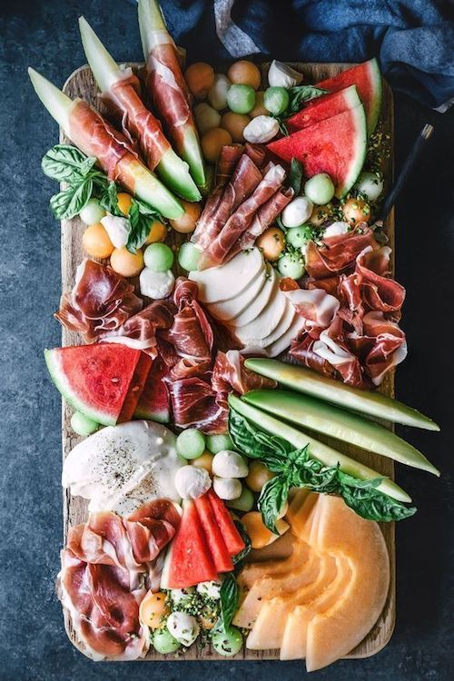 Bocconcini, melon and prosciutto board by HonestlyYUM.