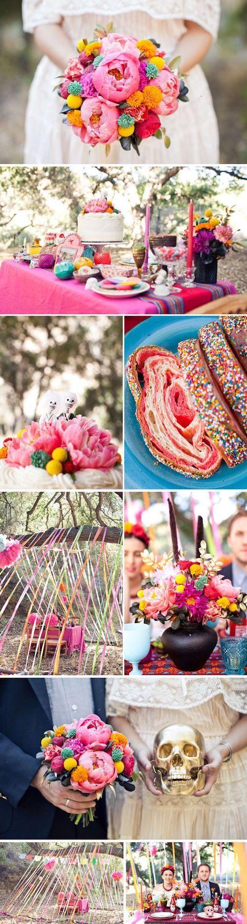 El color incita a la diversión y que mas lindo y colorido que una boda con inspiración mexicana.