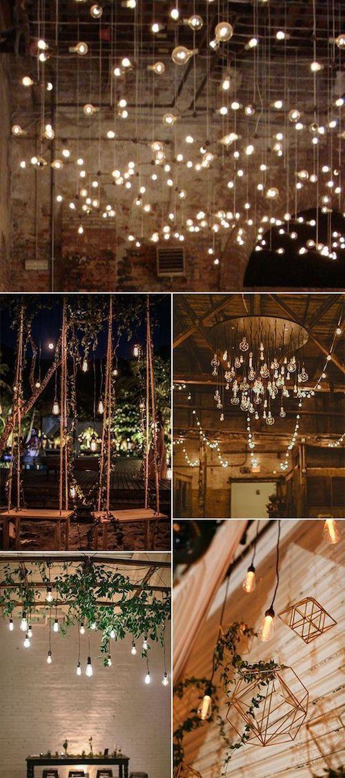Quizás tu motivo central sean las bombillas de luz incandescentes estilo Edison via Pinterest.