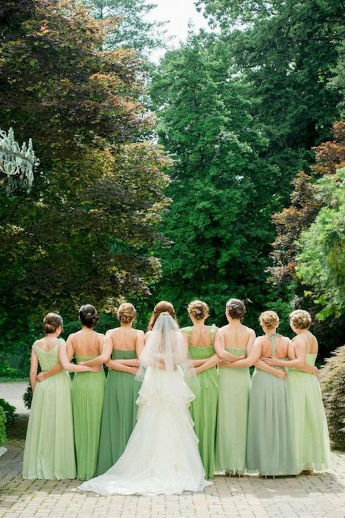 Loving these bridesmaid dresses in shades of green. Baltimore Wedding L Hewitt Photography.