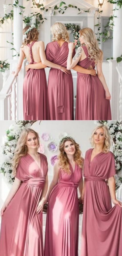 So versatile! Long rosewood bridesmaid infinity dress.