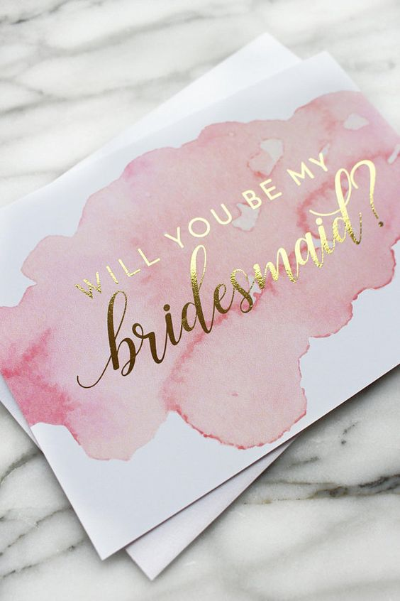 Glorious bridesmaid proposal cards with a gold spark.
