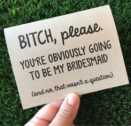 Funny Will you be my Bridesmaid? proposal card.