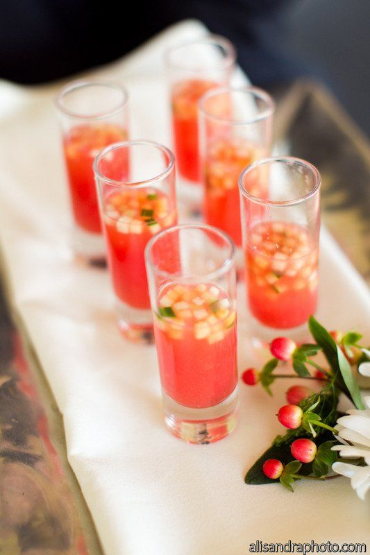 Yes, it's gazpacho! A perfect beverage for your Spanish-style charcuterie boards via Harvest Moon Catering. Photographer: alisandraphoto.
