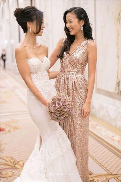 Stand out and look as glam as ever with a V-neck floor length sleeveless sequined gold maid of honor dress.