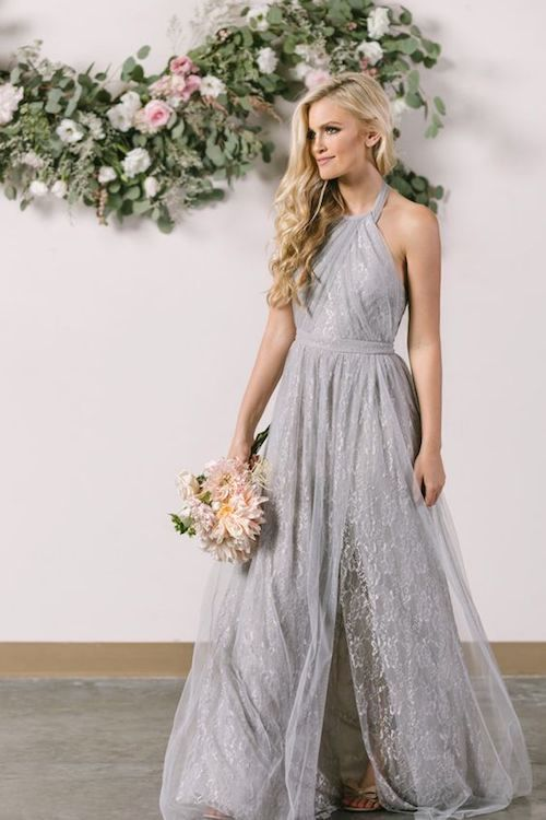Stunningly delicate maid of honor gray long dress in tulle lace and halter neck.