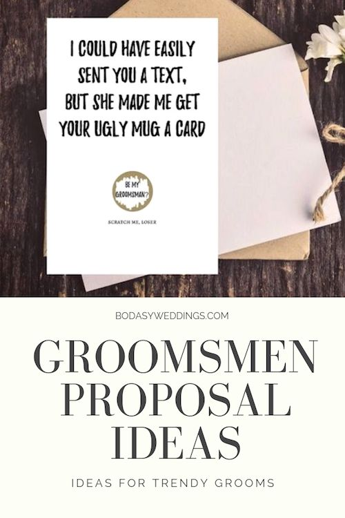 "Scratch-off ""be my groomsman"" card. Accompany it with a monogrammed glass, seriously bro. From faded Gardenias in Chicago, Illinois. Buy it here!"
