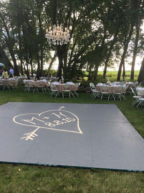 Imagine your decal before the dance at night. Build a dance floor outside, suspended chandelier in the center.
