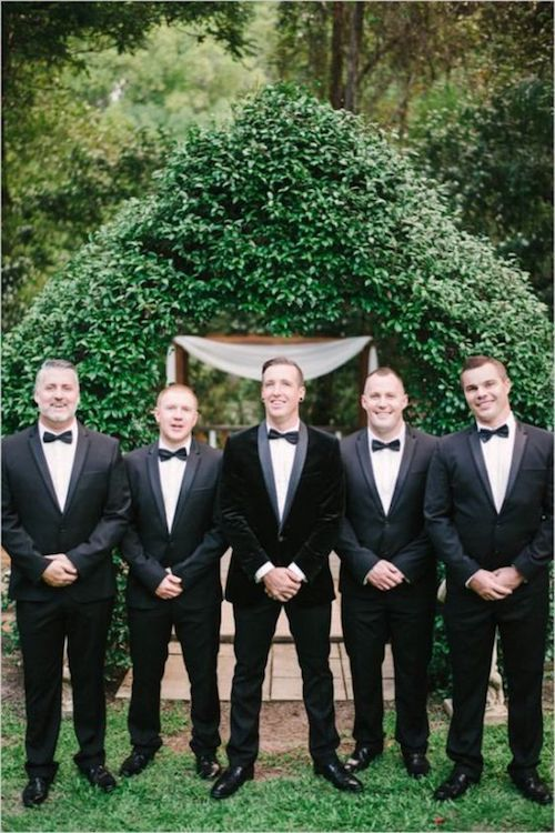 Groomsmen a la Bond - they really slay those suits.