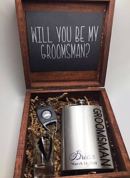 Once you have chosen your groomsmen, you gotta ask them. Start getting them ready for the big day with this proposal box. Ships from Northborough, Massachusetts. Get yours here!