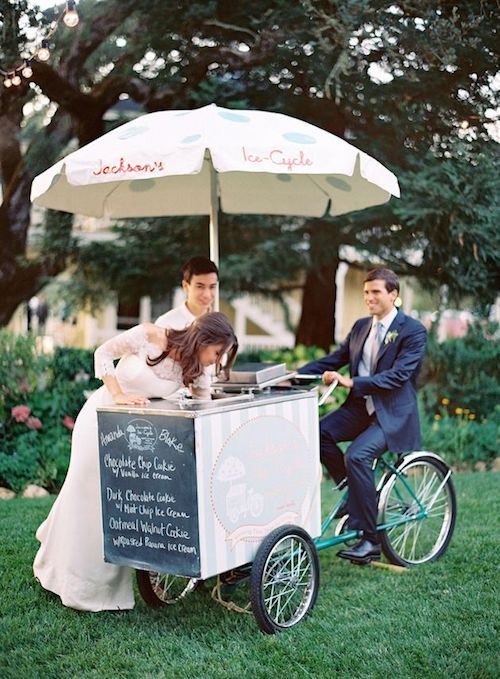 Delight your guests with an ice cream cart and give your wedding guests a photo-op. Photo: Jose Villa.