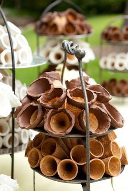 Chocolate dipped ice cream cone display. No need to buy these, you can make them yourself and they look ultra fancy!