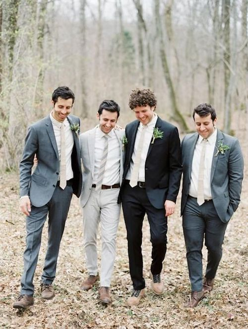 Mismatched groomsmen attire is totally in right now. And it is a much more affordable option for the guys.