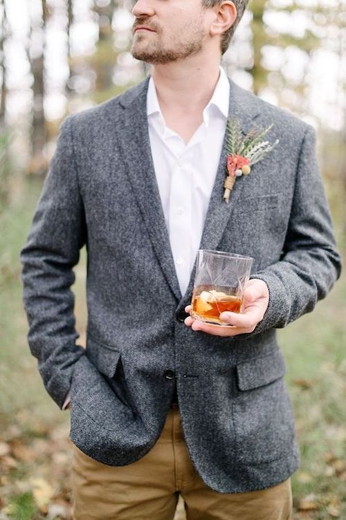 Chic and modern bohemian menswear for wedding.