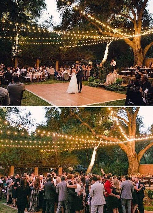 Outdoor wedding dance floor lighting ideas.
