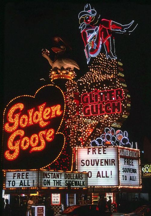 It's Vegas or bust! Plan a dope bachelor party. Golden Goose & Glitter Gulch, Las Vegas. Photo: vintage las vegas.