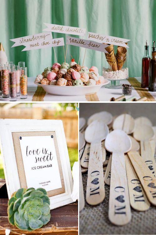 Create the cutest signs for your ice cream toppings, offer plenty of spoons and have them personalized.