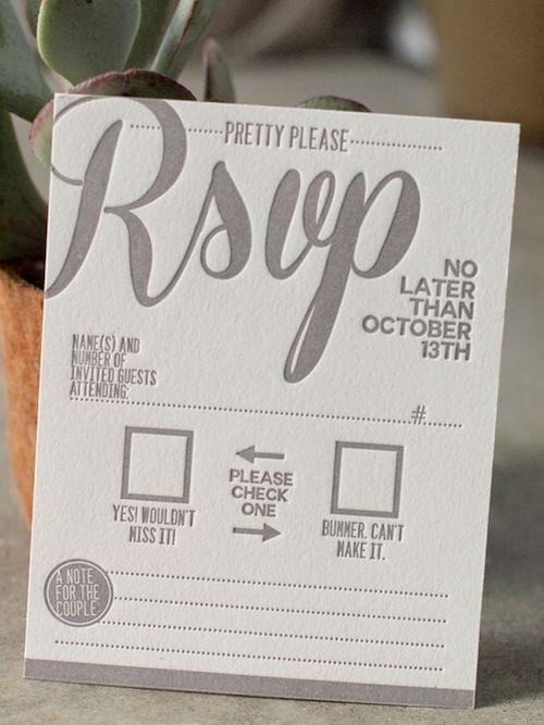 Tarjeta de RSVP super creativa de presshausla.