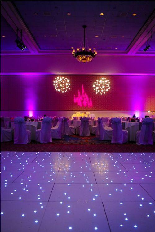 Add the magic of Disney to your wedding dance floor and feel like you are dancing over a starlit sky. Photo via disneyweddingsblog.