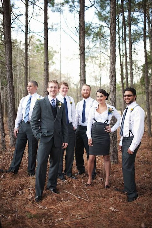 Include your sister in your wedding party. So loving the mixed gender groom's squad!