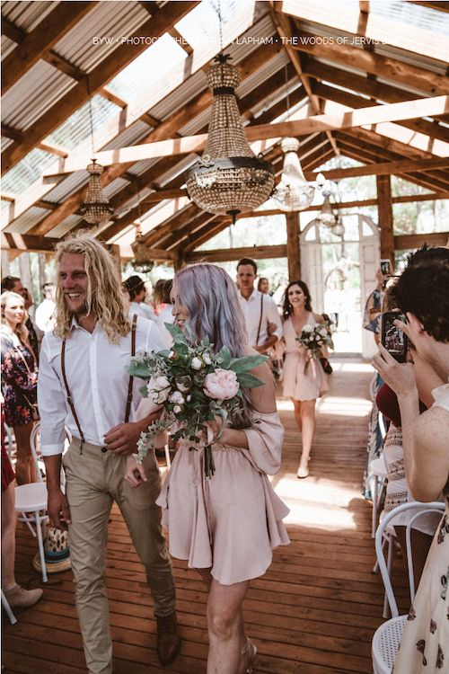Why choose groomsmen? Amongst other things, to walk down the aisle with the bridesmaids. Coachella style wedding theme at The Woods of Jervis Bay. Photography: Nathan Lapham.