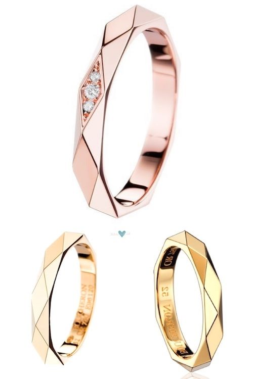Un anillo de bodas facetado de la Maison Boucheron. Un anillo de bodas en oro rosa facetado con un detalle de tres diamantes que representan tu pasado presente y futuro juntos.